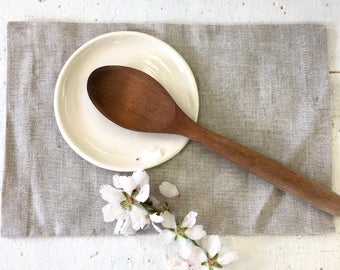 Spoon rest, white ceramic, ladle rest, Modern ceramic, kitchenware decor, plate for spoon, plate for ladle, white plate