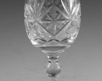 "Thomas WEBB Crystal - OXFORD Cut - Wine Glass / Glasses - 5 1/4"""