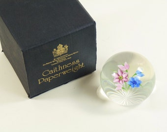 CAITHNESS Whitefriars Paperweight - Blue & Pink Posy - Ltd 215 of 250