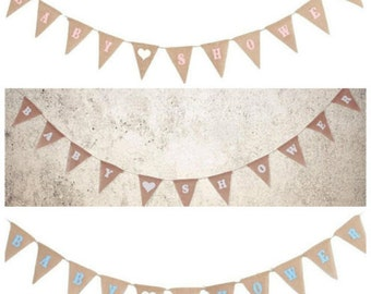 """Hessian jute rustic chic """" Baby Shower"""" bunting banner available in white, pink or blue writing"""