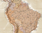 World Map Canvas Antique-style Sand - Physical & Political (Rolled/Large)