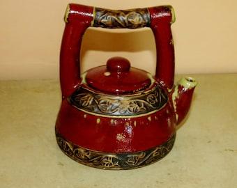 Pier 1 Earthenware Teapot Rust Red Earthenware Pottery