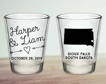 Custom South Dakota Wedding Favor Shot Glasses