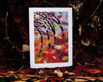 Autumn Winds Art Greeting Card. Trees. Colours Of Autumn. Fall. Autumn Leaves.