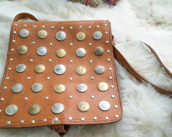 Vintage Hammered Coin Decorated Leather Moroccan Bag