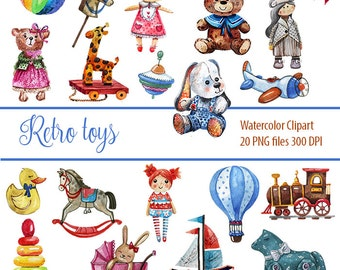Retro Toy, Vintage Toy, Baby Clipart Watercolor, Baby Shower, Teddy Bear, Toys, Digital Clipart.