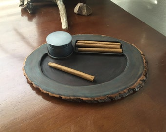 Wooden Rolling Tray - Natural Live Edge Wood
