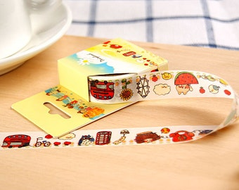 TRAVEL Japanese Washi Tape, Masking Tape, Planner Stickers,Crafting Supplies,Scraping Booking,Adhesive Tape,Floral Washi Tape