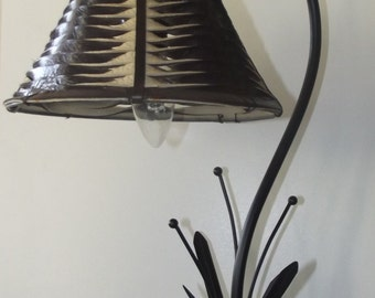 bedside lamp, Lampshade two-tone twisted leather