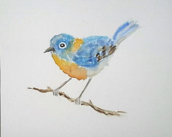 Original watercolour painting of bluebird, watercolour bird painting