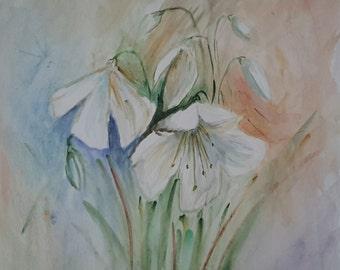 original watercolour Lilium flowers painting, watercolor flowers painting, Lily watercolour