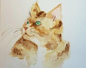 Original watercolour painting of red cat, watercolour cat painting, cat painting