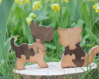 Animal puzzle,Wooden Puzzle,Kids gifts,Wooden Dog Cat puzzle,Educational toys,Eco toys,Waldorf wood toys,Child's Puzzle,Montessori toys