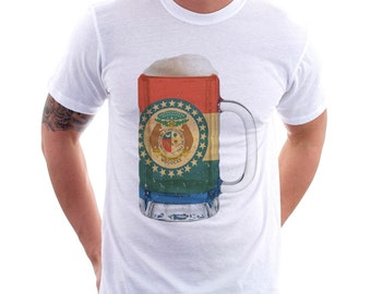 Missouri State Flag Beer Mug Tee, Unisex, Home State Tee, State Pride, State Flag, Beer Tee, Beer T-Shirt, Beer Thinkers, Beer Lovers Tee