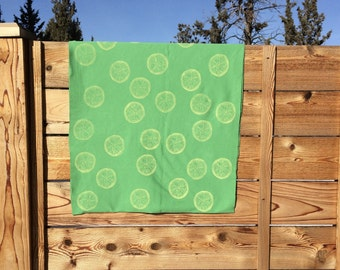 Lemon Infinity Scarf, Block Print Scarf, Cotton Jersey Scarf, Citrus Print Scarf, Gift Under 50, Gift for Woman, Gift for her, Gift for Mom