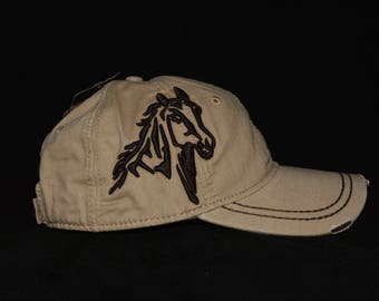 Light wheat hat with embroidered 3d Horse with name personalization