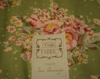 Tilda fabric Summer floral green, tilda fat quarter, tilda green fabric, tilda floral fabric, quilting fabric, tilda fabric, green fabric