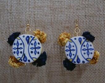 Ceramic earrings shaped tambourine-Sicilian colorful earrings-Handmade