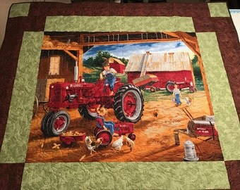 "McCormic Farmall Quilt on the Farm 62"" x 55"""