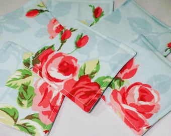 Rose Print Fabric Coasters - pack of 6