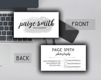 Watercolor Business Card Template 3.5x2 | Printable Business Card Design | Photoshop Template PSD | INSTANT DOWNLOAD