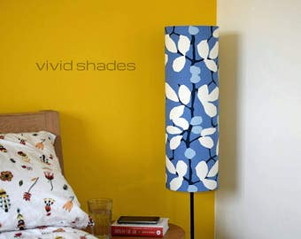 Tall lampshade with floor lamp base option, fabric made and printed in England. handmade by vivid shades, lovely floral leaf on stem pattern