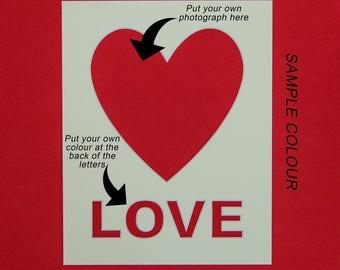 Photo Mount  | Heart Shape Aperture - Love txt under heart - 10x8 inch | Wedding Gift | Engagement Gift | Photo Frame | Photo Mounts