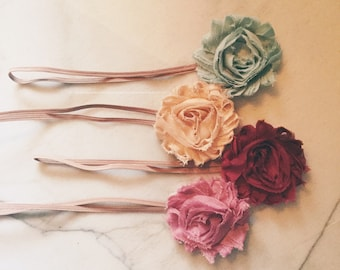 Shabby flower baby headband pick 3 for 12