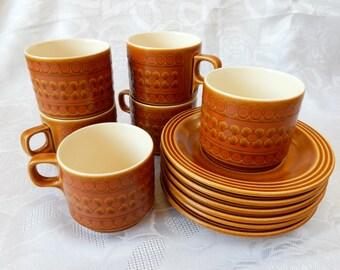 Hornsea 'Saffron' Tea Cups and Saucers