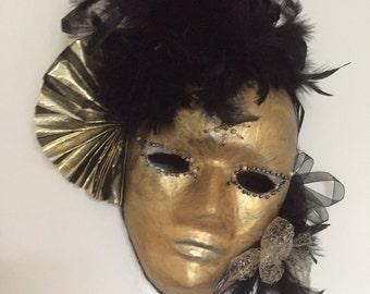 Full Face Mask.Venetian mask-Gold and Black