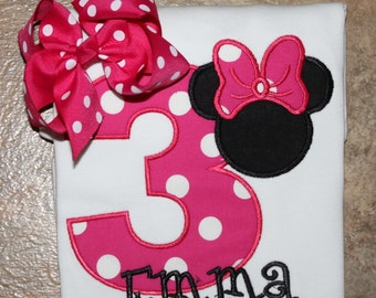 Minnie mouse birthday shirt and matching bow