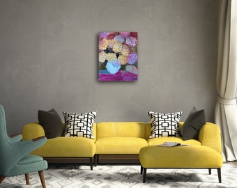 Original Floral Acrylic Pink Yellow Painting on Gallery Wrapped Canvas - Chrysanthemum