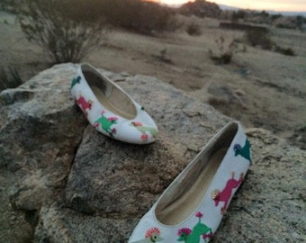 1980s White Ballet Flats with Multi-Color Embroidered Poodles