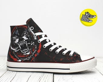 Motorhead custom painted converse trainers Snaggletooth rock style shoes