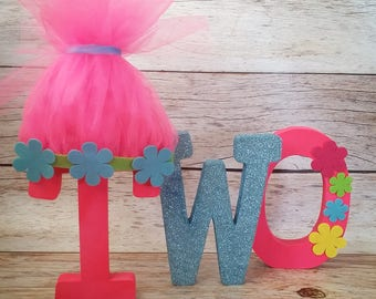 Trolls Inspired Birthday Free Standing Letters//Poppy// Pink and Blue Birthday//2nd Birthday letters//1st Birthday letters//Photo Prop