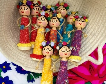 Frida Clothespin Dolls