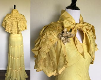 Lemonade Gown | 1930s Vintage Four Piece Set Lemon Yellow Tulle Evening Gown + Ruffled Taffeta Cape + Tulle Bolero + Corsage | Size XS/S
