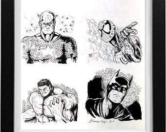 Capt. America, Spiderman, Hulk and Batman