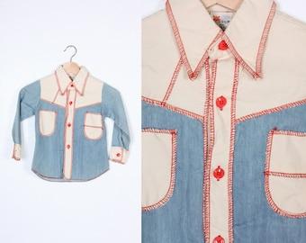70s Boys Shirt // Vintage Collared Button Up Western Top Denim Kids - Size 6