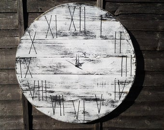 """Huge 70cm (27.5"""") White  Round Board Personalized Handmade Rustic Driftwood Reclaimed Wood Shabby Chic Vintage Wall Clock Home decor Gift"""