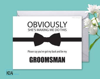 Will You Be My Groomsman INSTANT DOWNLOAD / Groomsman Printable / Ask Groomsman / Fun ask Groomsman / Bow Tie Groomsman / DIY Wedding - KEAi