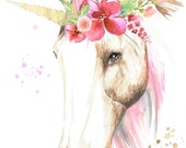 Watercolour Unicorn with Flower Crown - Print