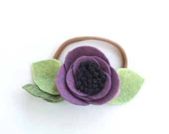 MULBERRY// single flower headband// felt flower