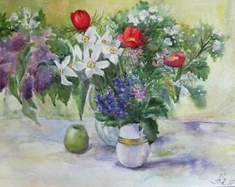 Original watercolor bouquet, Watercolor still-life, Flower Artwork, Flowers Still Life, Wall art
