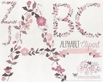 Flowers Clipart 80% OFF! - Alphabet Clipart Letters Flora 10 Flowers Floral Vector Graphics PNG Rose Tones