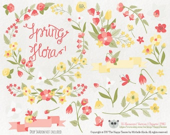 Flowers Clipart 80% OFF! – Spring Flora 1 Vector Graphics, Flower Clipart, Floral Clipart, PNG, Clip Art, Coral, Yellow