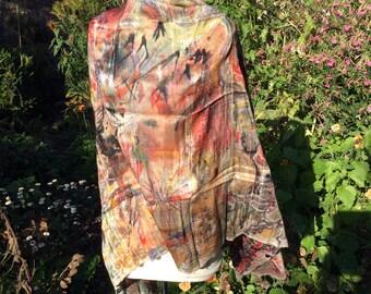 Autumn - Hand-painted silk scarf