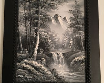 Vintage original oil painting on canvas, Rocky Mountains trees, water in blacks grays, whites, signed S. Scott, nicely framed, beautiful.