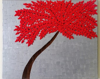 Mixed media canvas mixed media artwork Abstract acrylic red tree painting landscape painting,textured,wall decor with red crochet flowers.