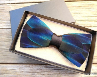 Feather Bow Tie Karl, Handmade, men's gift, bow tie, feathers, blue, wedding, spring carnival, christmas gift, bow ties, men's bow tie